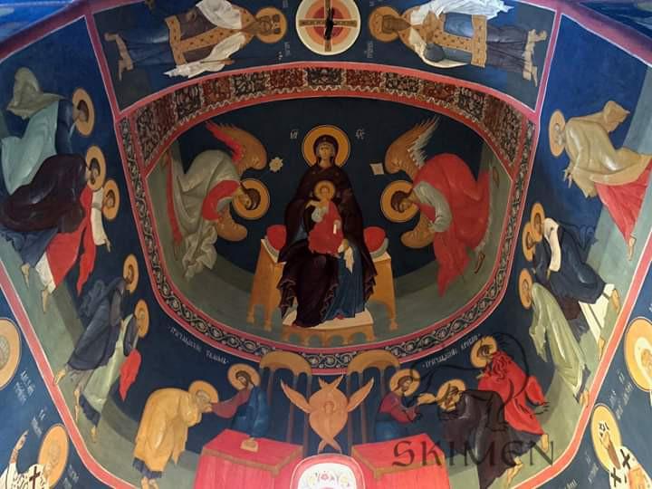 Николо-Угрешский монастырь - Никольский храм - Фреска - Богородица на престоле