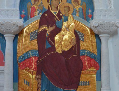 Роспись иконостаса в храме в честь иконы Божьей Матери Скоропослушница, Рязань